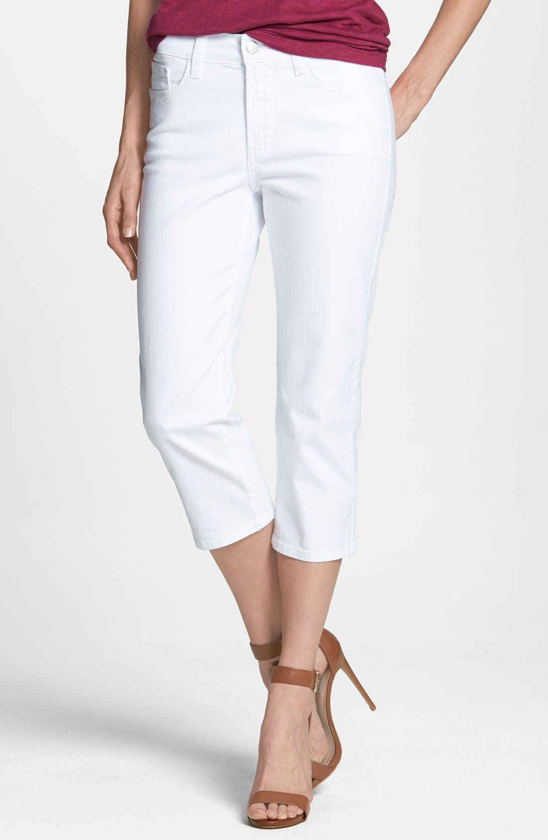Main Image - NYDJ 'Ariel' Embroidered Pocket Stretch Crop Jeans (Optic White) (Petite)