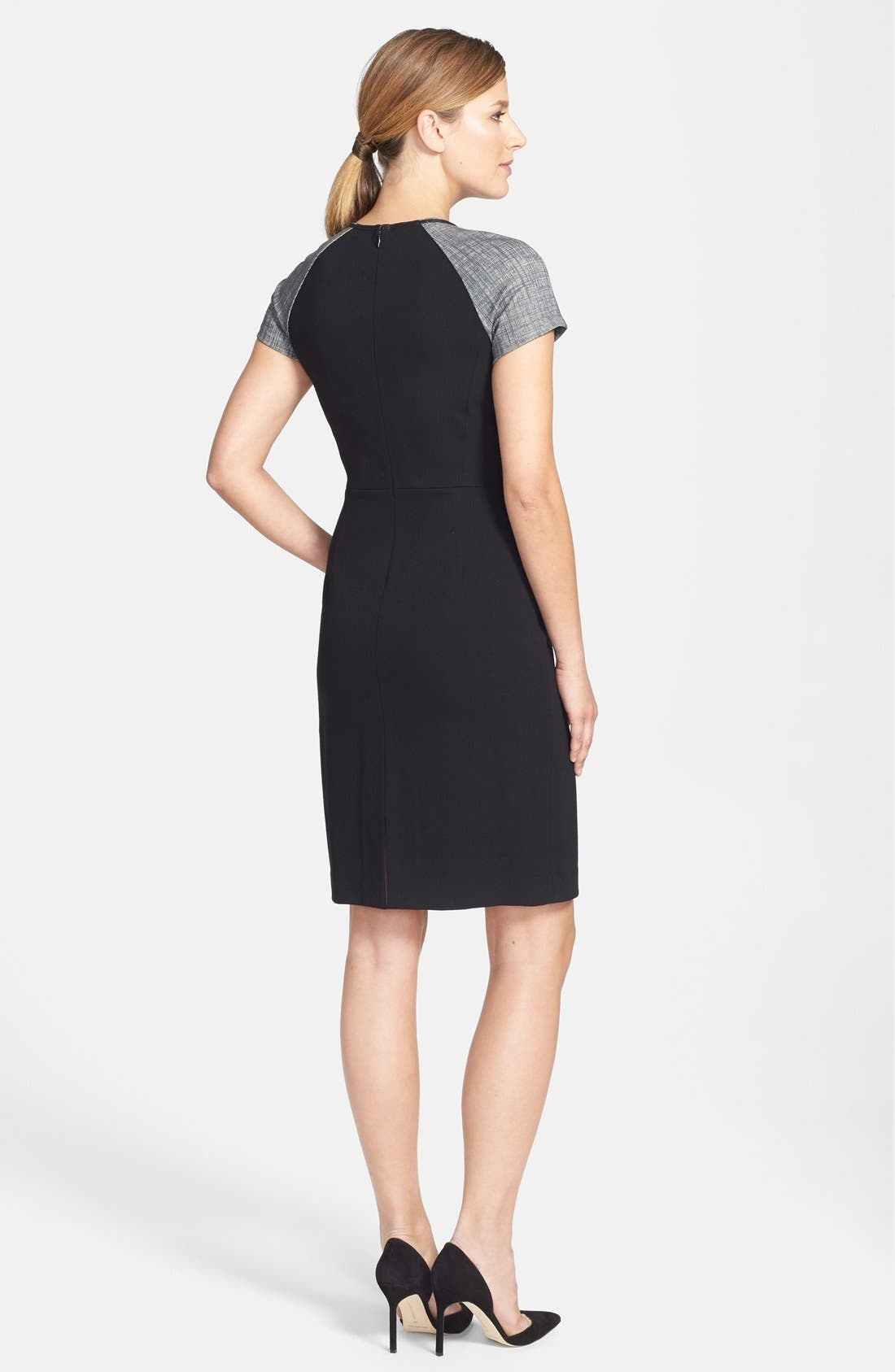Alternate Image 2  - Lafayette 148 New York Croc Embossed Panel Punto Milano Sheath Dress