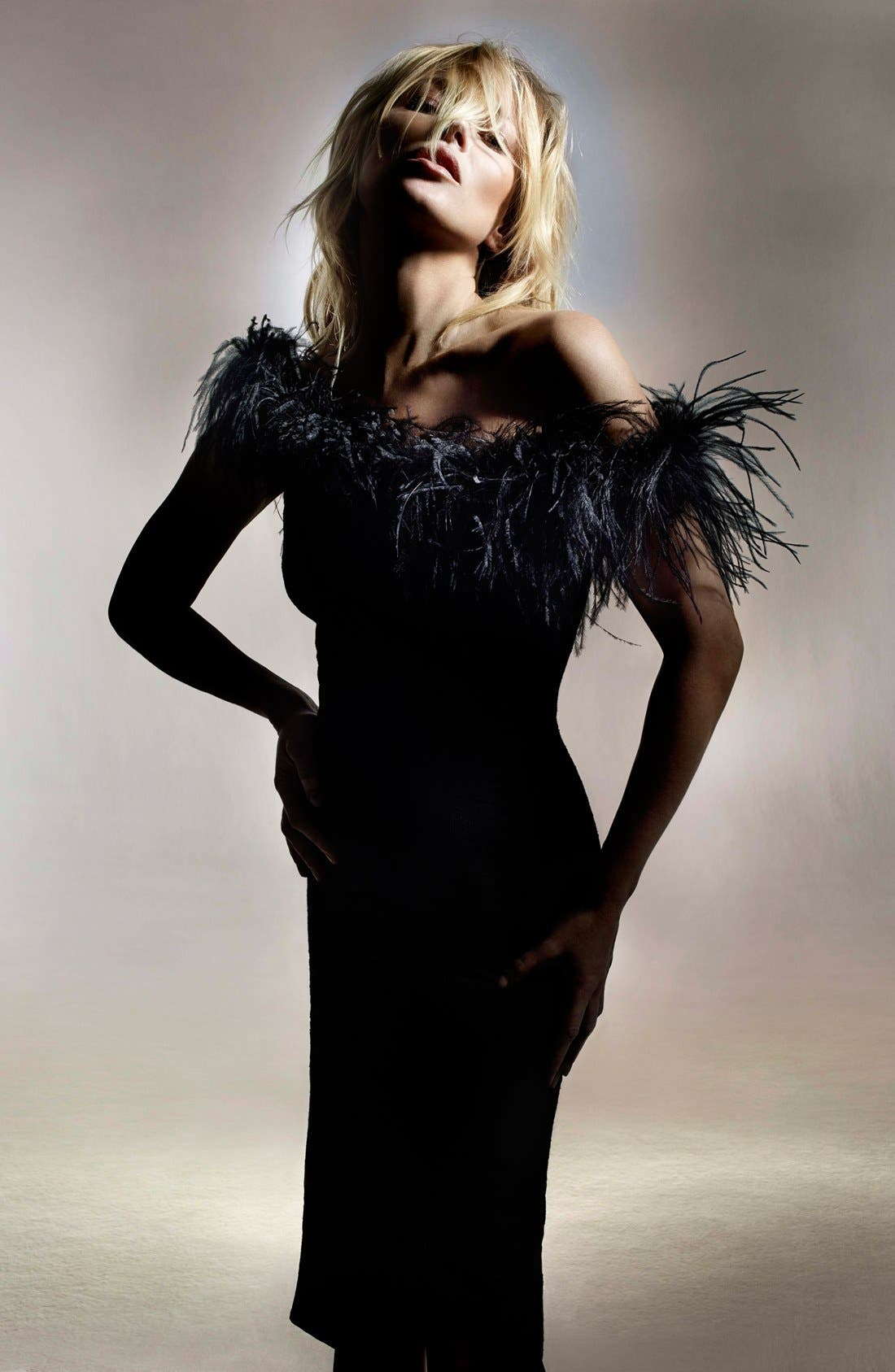 Alternate Image 6  - Kate Moss for Topshop Feather Off Shoulder Cocktail Dress