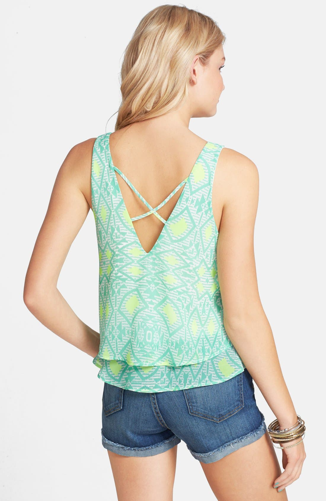 Alternate Image 2  - Lush Cross Back Layered Tank (Juniors)