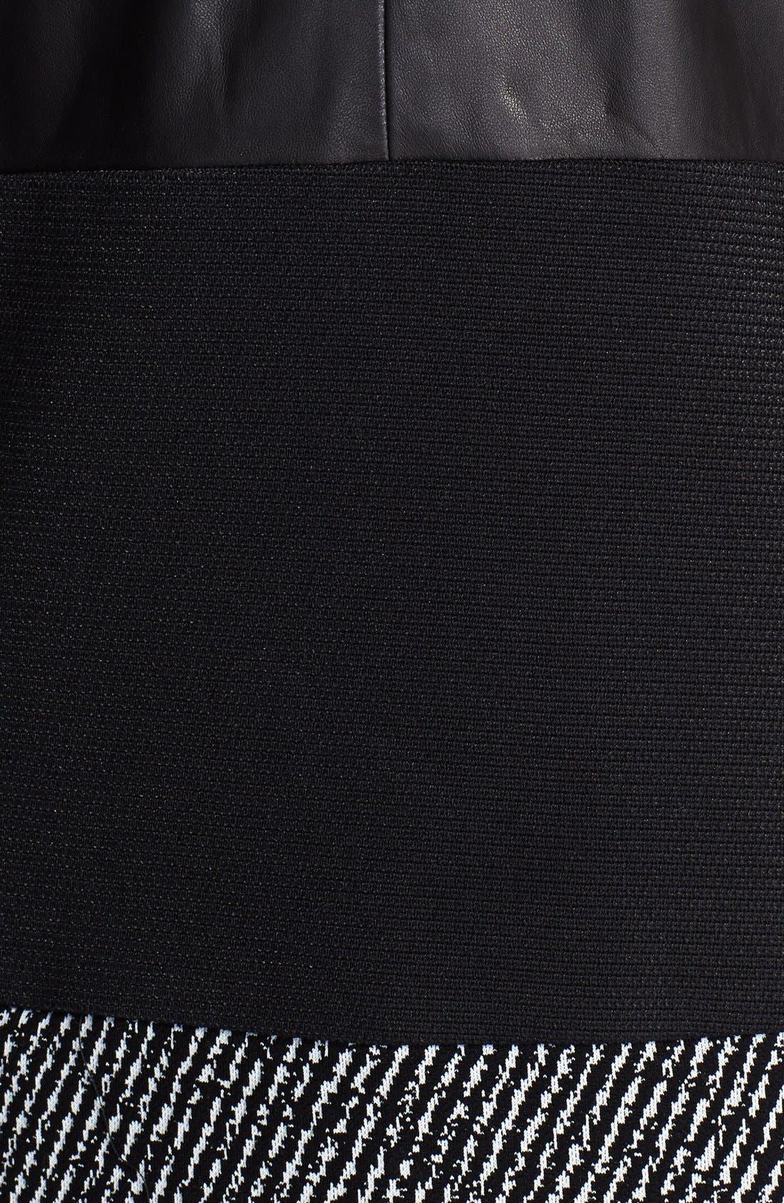 Alternate Image 3  - Prabal Gurung Short Sleeve Leather Panel Knit Dress