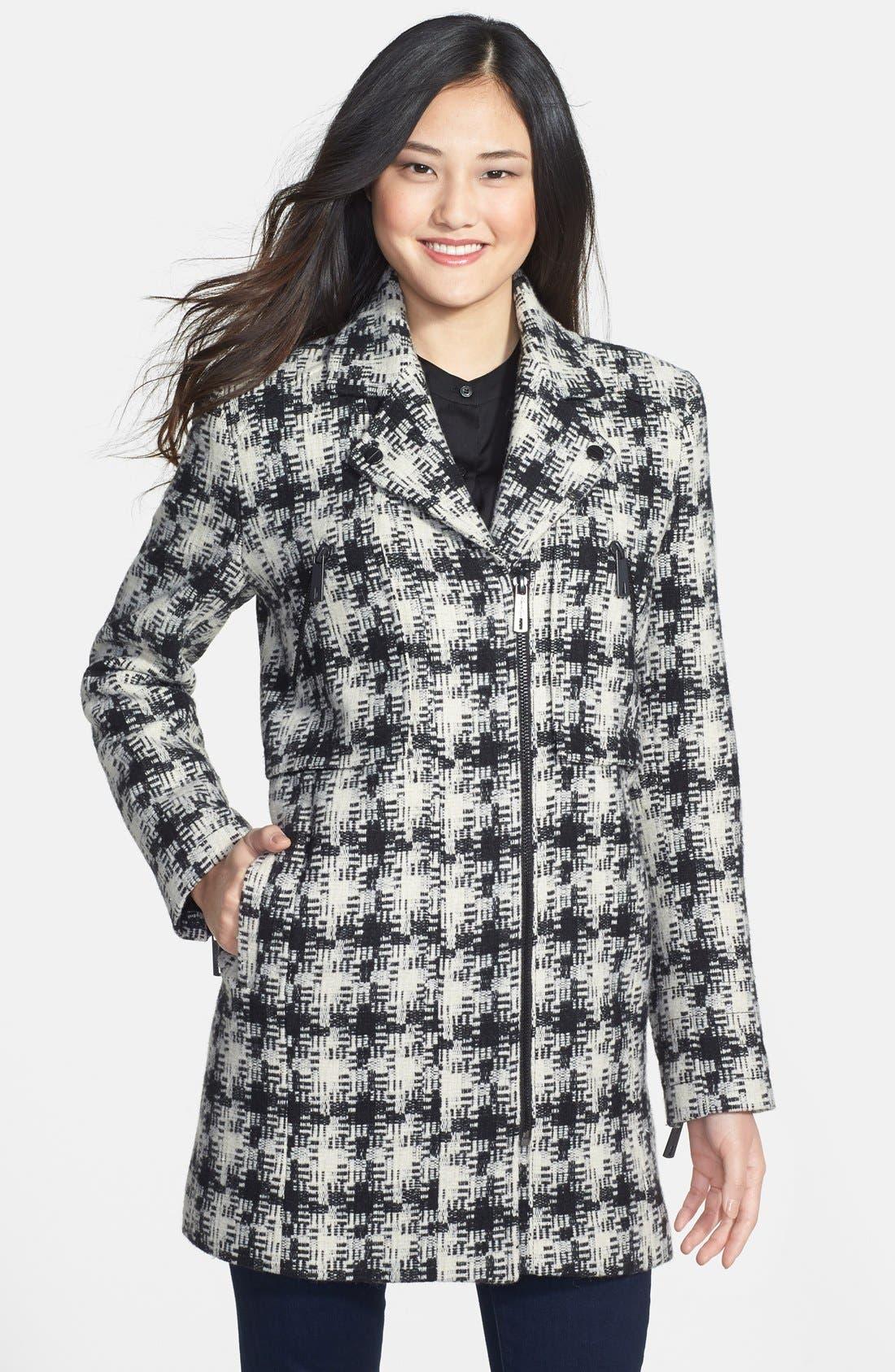Alternate Image 1 Selected - Kenneth Cole New York Asymmetrical Zip Plaid Tweed Coat