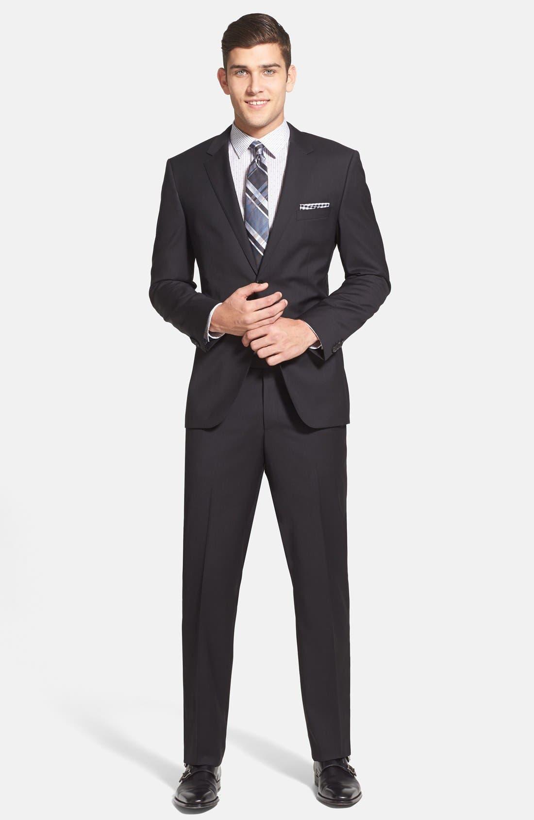 Main Image - BOSS 'James/Sharp' Trim Fit Black Super 120s Wool Suit