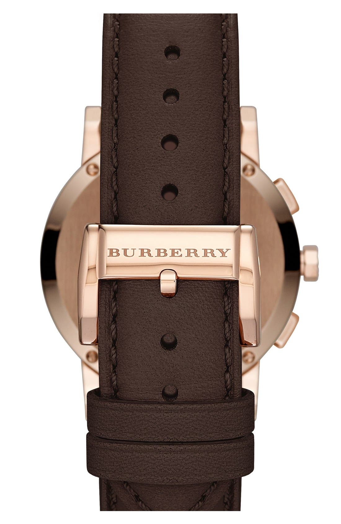 Alternate Image 2  - Burberry Check Stamped Leather Strap Watch, 38mm