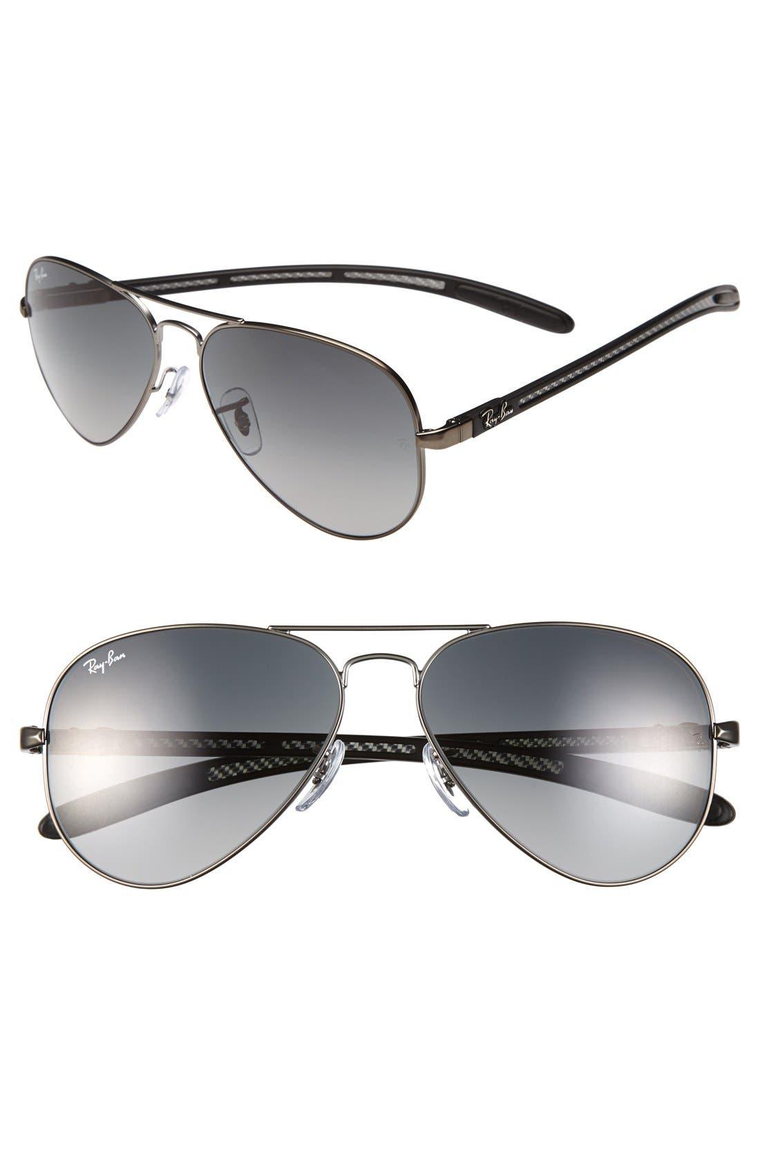 Alternate Image 1 Selected - Ray-Ban 'TECH Carbon Fiber' 58mm Aviator Sunglasses