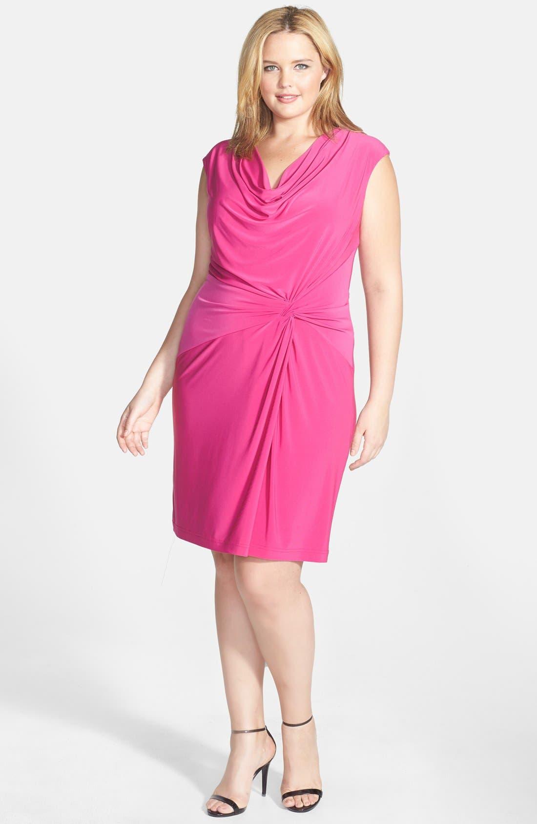 Alternate Image 1 Selected - Adrianna Papell Asymmetric Drape Cowl Neck Jersey Sheath Dress (Plus Size)