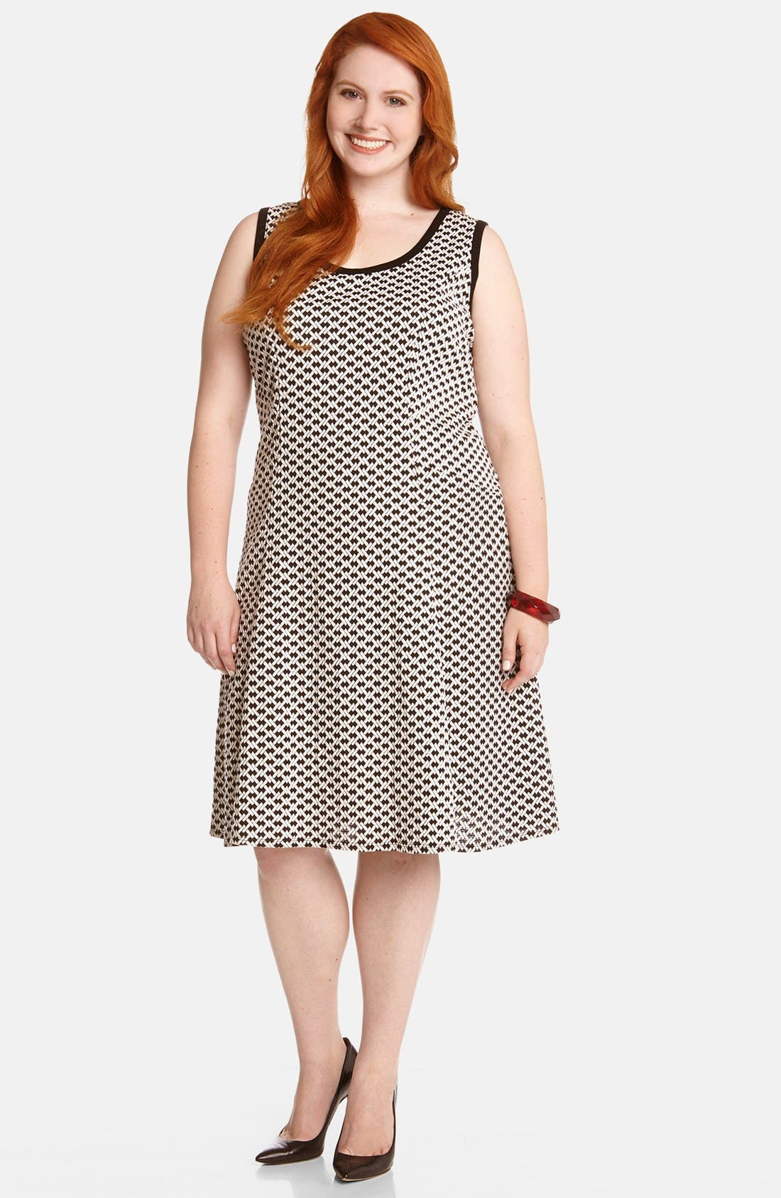 Main Image - Karen Kane 'Desert Weave' Fit & Flare Dress (Plus Size)