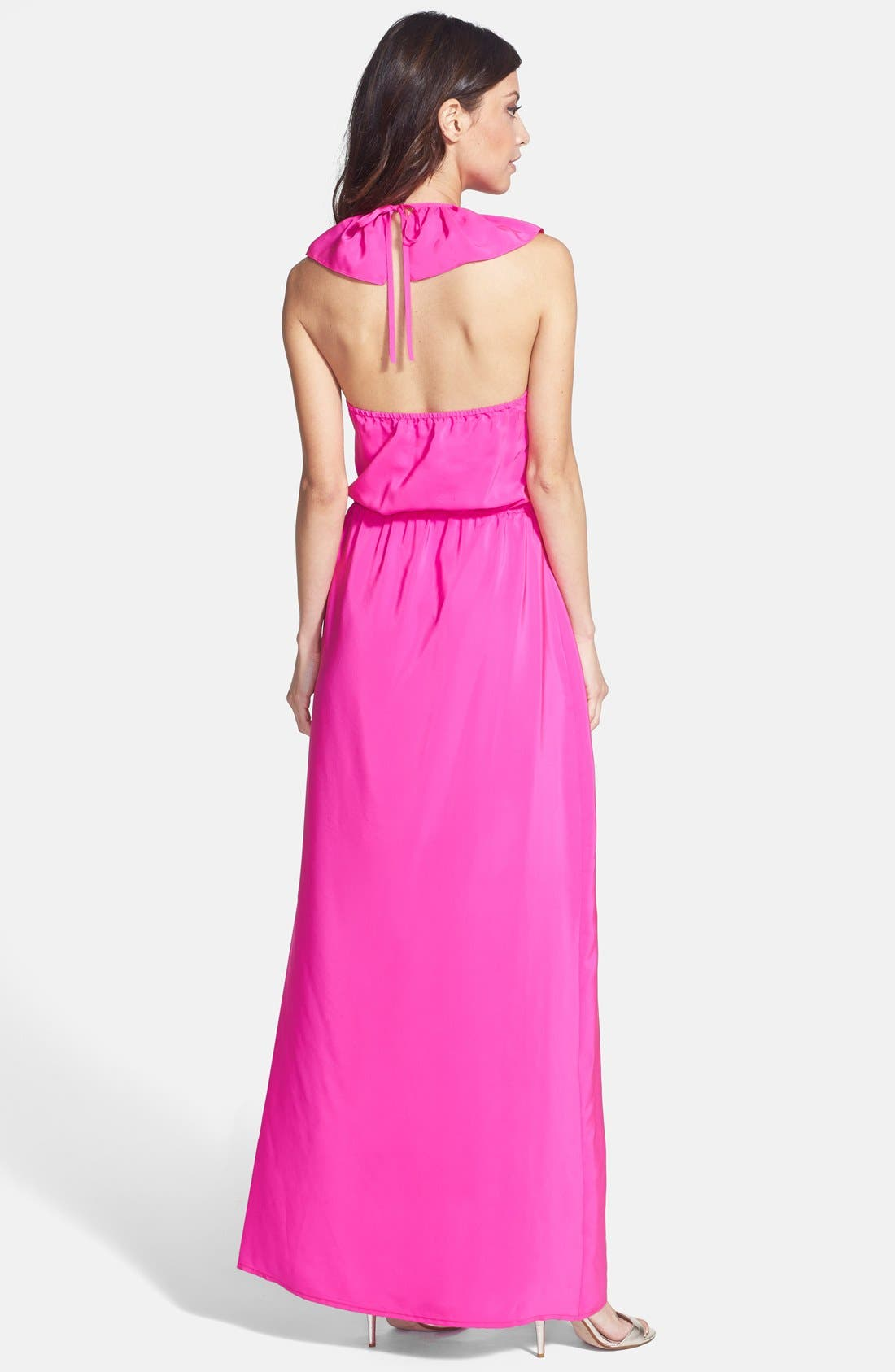 Alternate Image 2  - Amanda Uprichard Ruffle Halter Maxi Dress