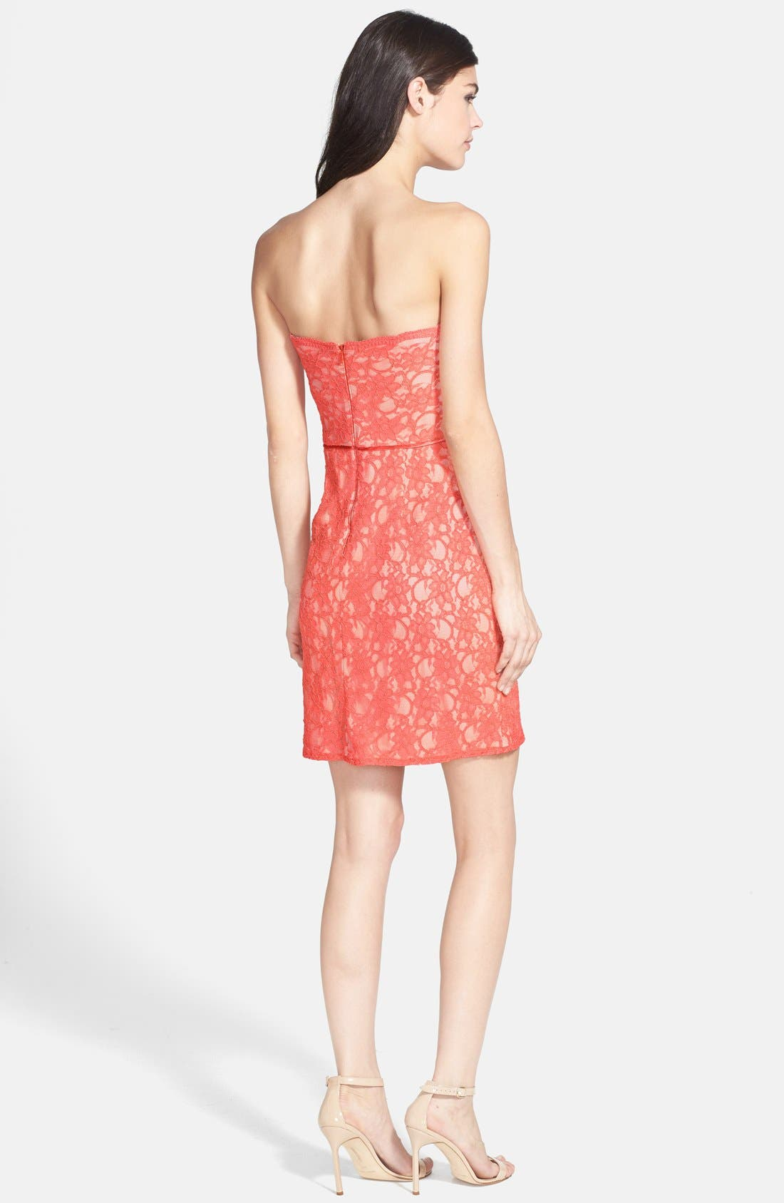 Alternate Image 2  - Hailey by Adrianna Papell Strapless Lace Sheath Dress