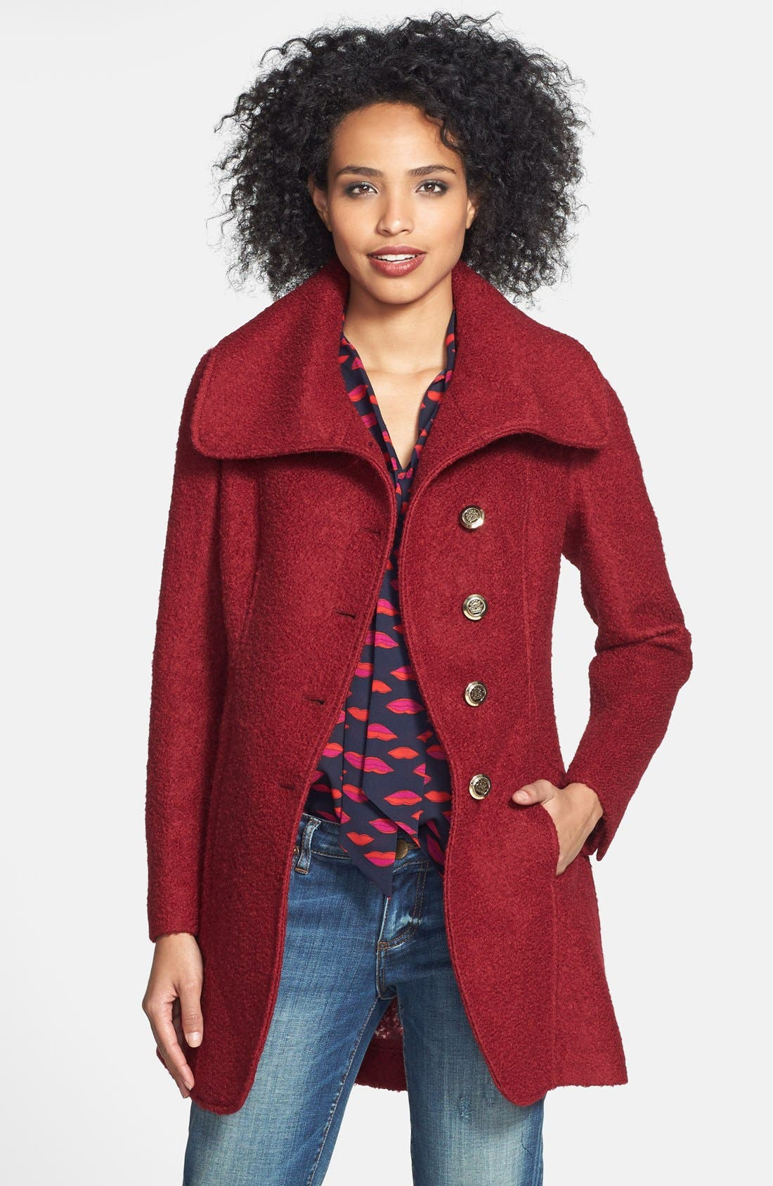 Alternate Image 1 Selected - GUESS Cutaway Front Bouclé Coat (Regular & Petite) (Online Only)
