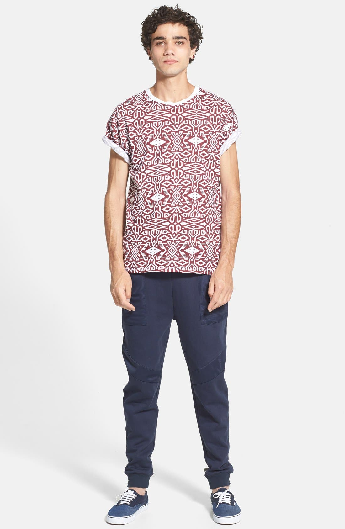 Alternate Image 4  - Topman Skinny Fit Jogger Pants with Patch Panel