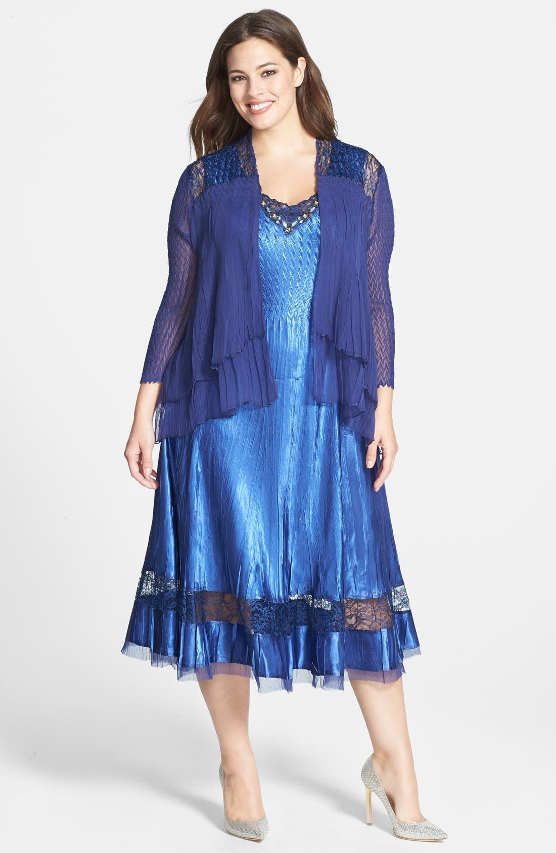 Alternate Image 1 Selected - Komarov Charmeuse Dress & Chiffon Jacket (Plus Size)