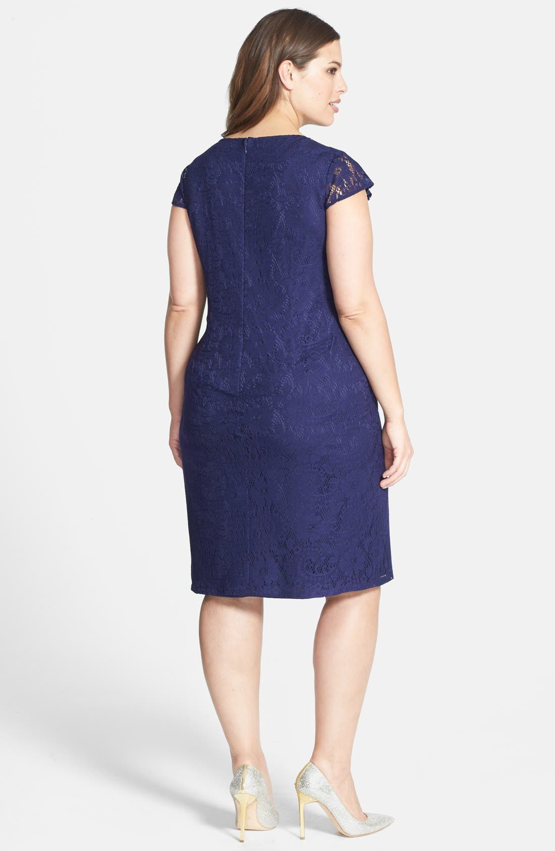Alternate Image 2  - Adrianna Papell Pleat Detail Lace Sheath (Plus Size)