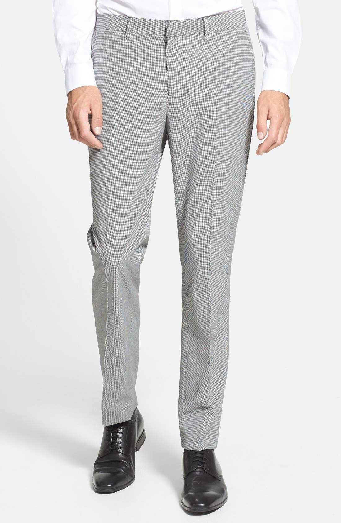 Main Image - Topman Skinny Fit Micro Houndstooth Suit Trousers