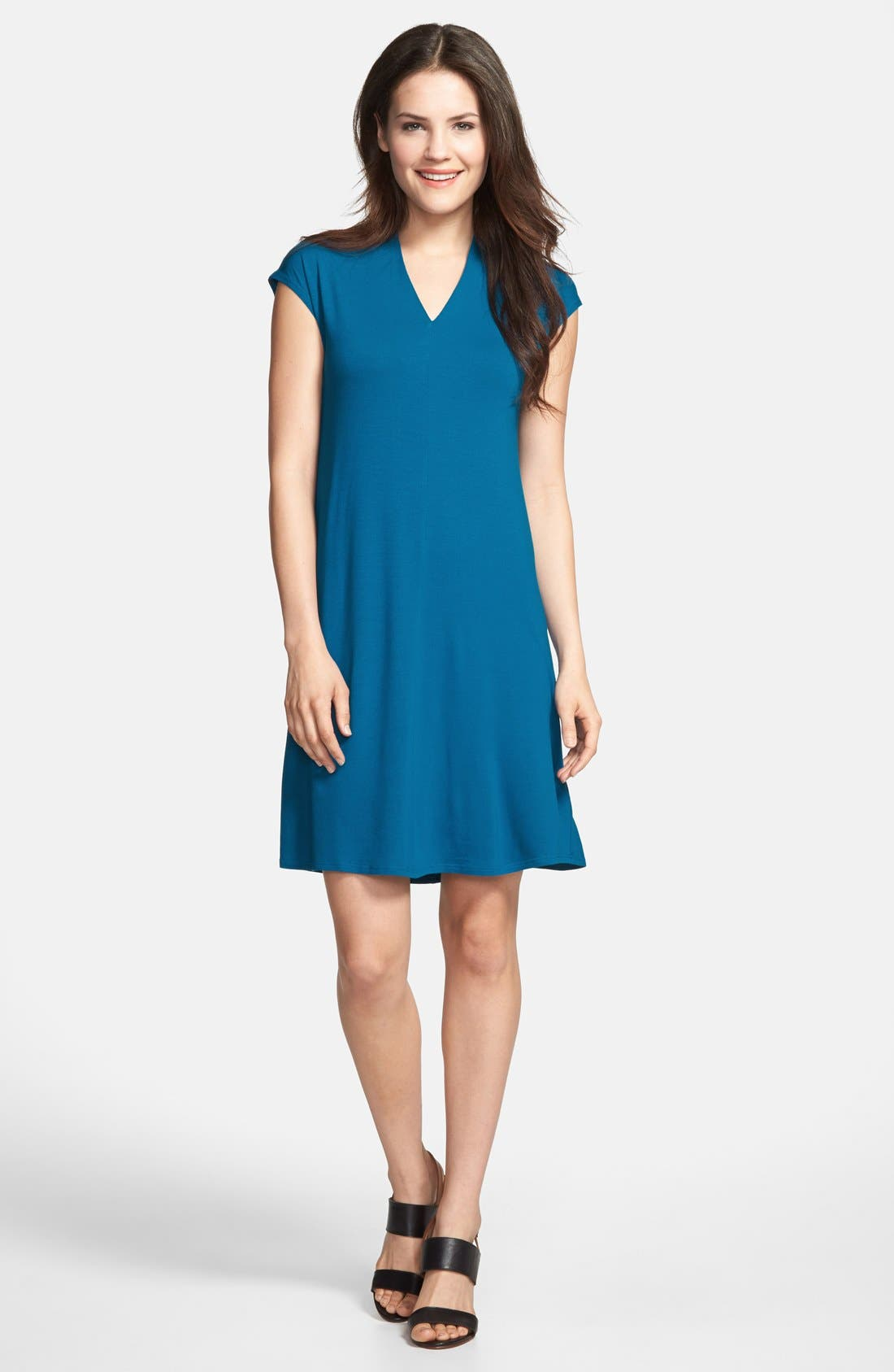 Main Image - Eileen Fisher Drapey V-Neck Dress (Regular & Petite)