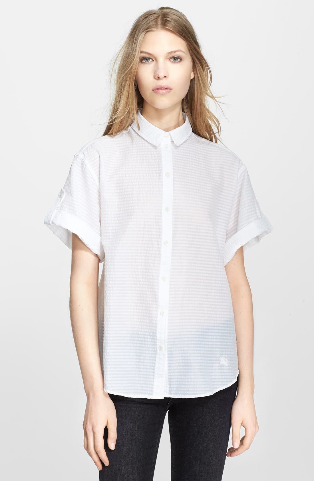 Alternate Image 1 Selected - Burberry Brit Puckered Stripe Blouse