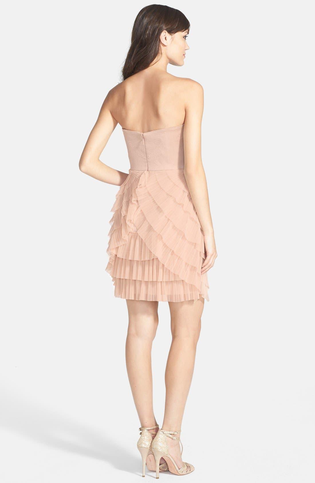 Alternate Image 2  - BCBGMAXAZRIA Tiered Mixed Media Fit & Flare Dress