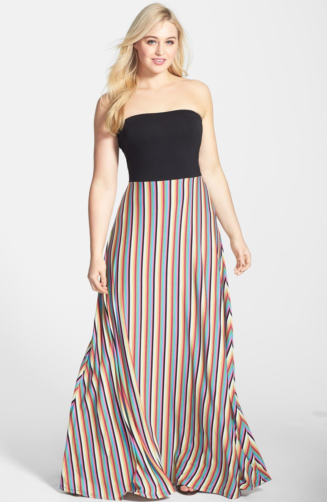 Alternate Image 1 Selected - Felicity & Coco Stripe Strapless Maxi Dress (Plus Size) (Nordstrom Exclusive)