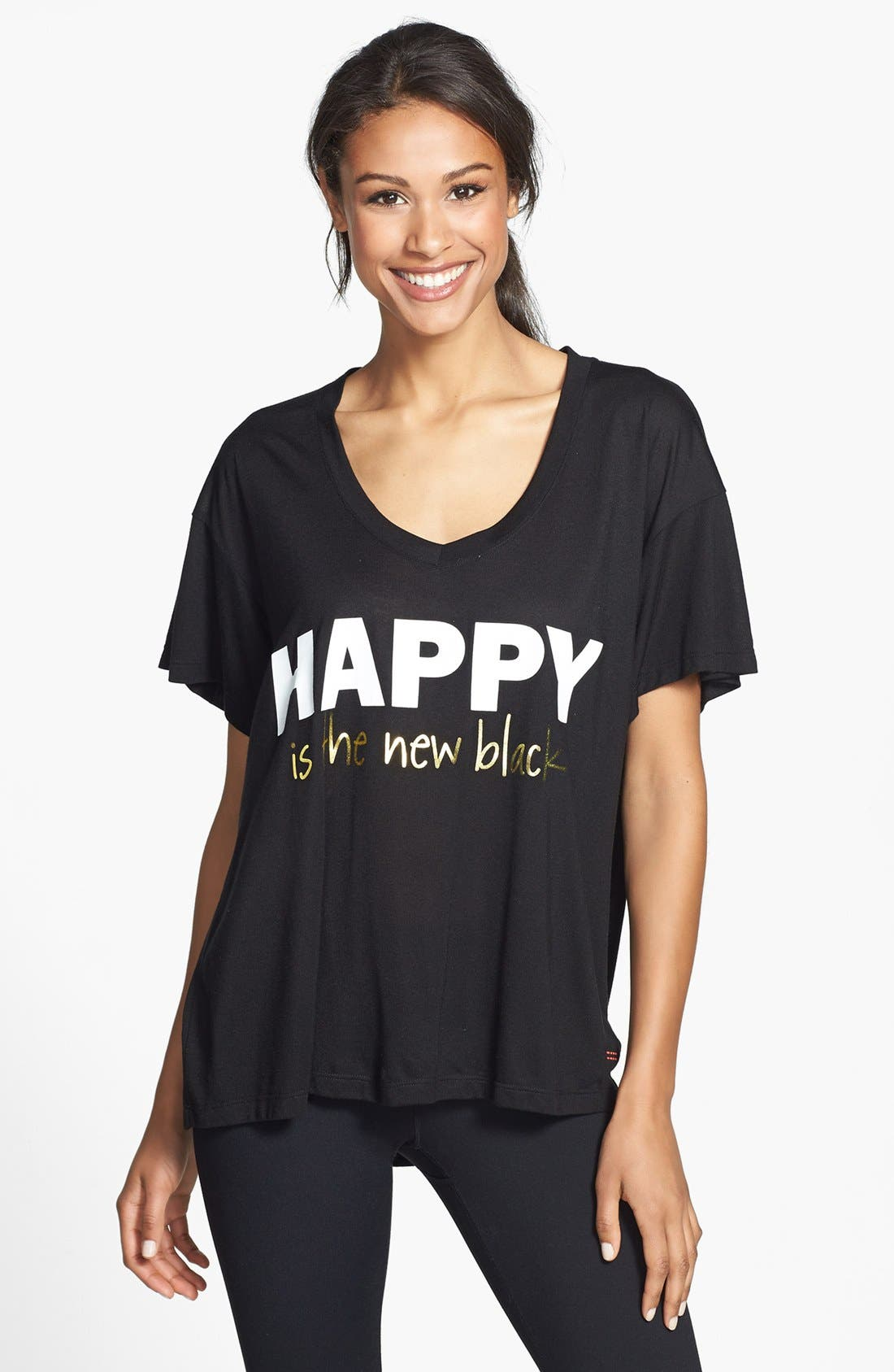 Alternate Image 1 Selected - Peace Love World 'Happy Is the New Black' Tee