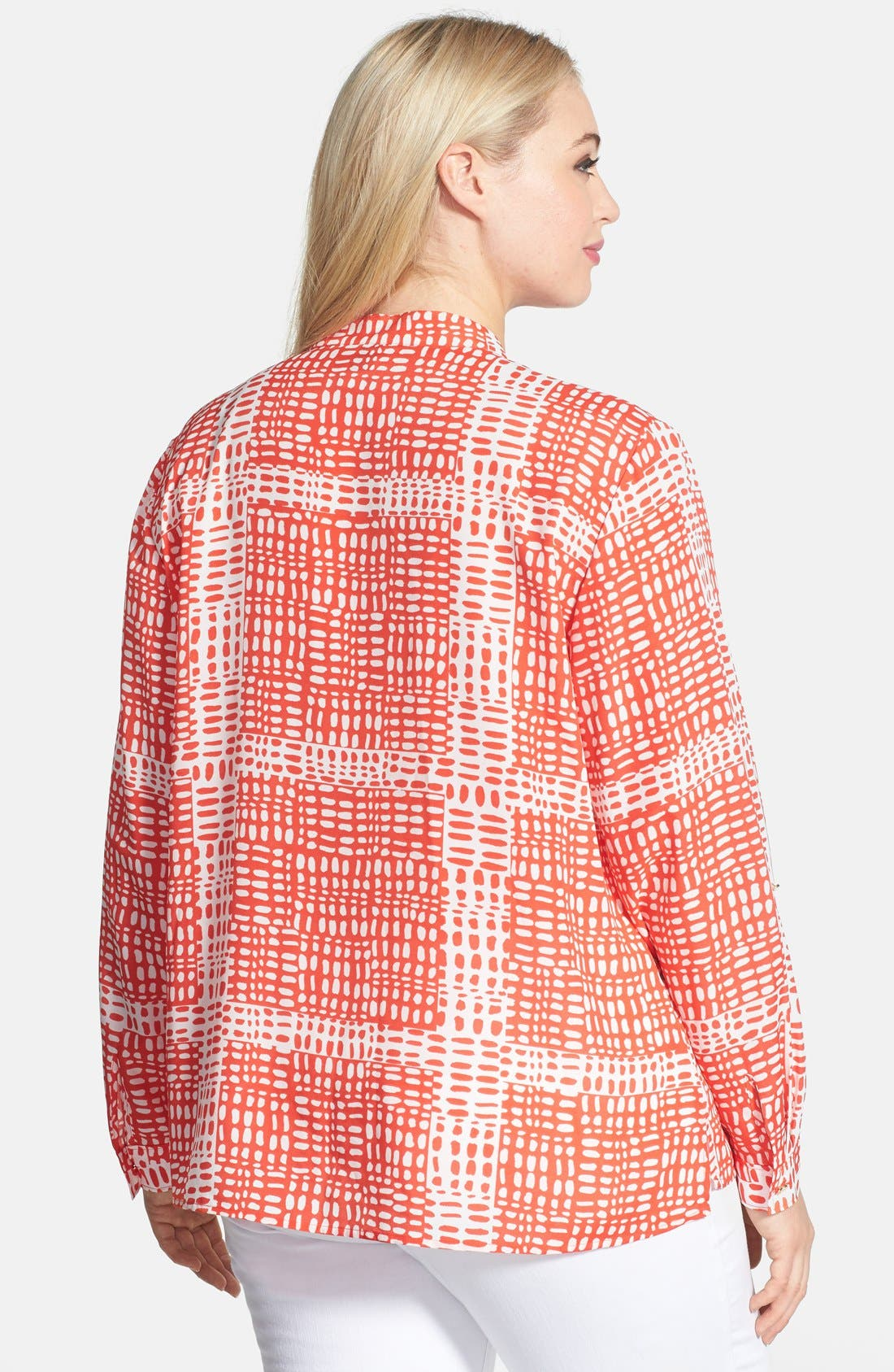 Alternate Image 2  - Anne Klein Print Roll Sleeve Shirt (Plus Size)