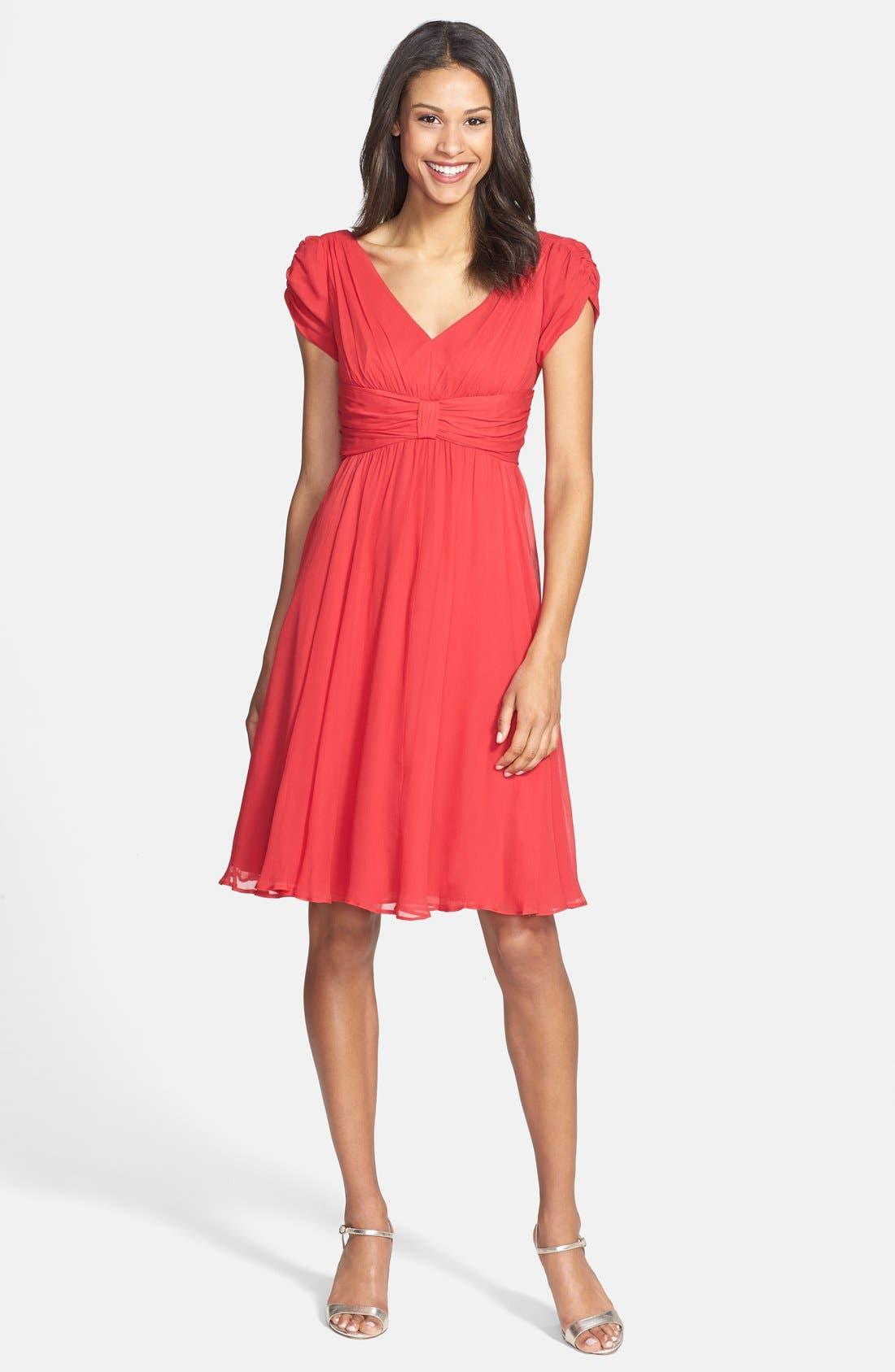 Main Image - Ivy & Blu Front Knot Chiffon Dress (Petite)