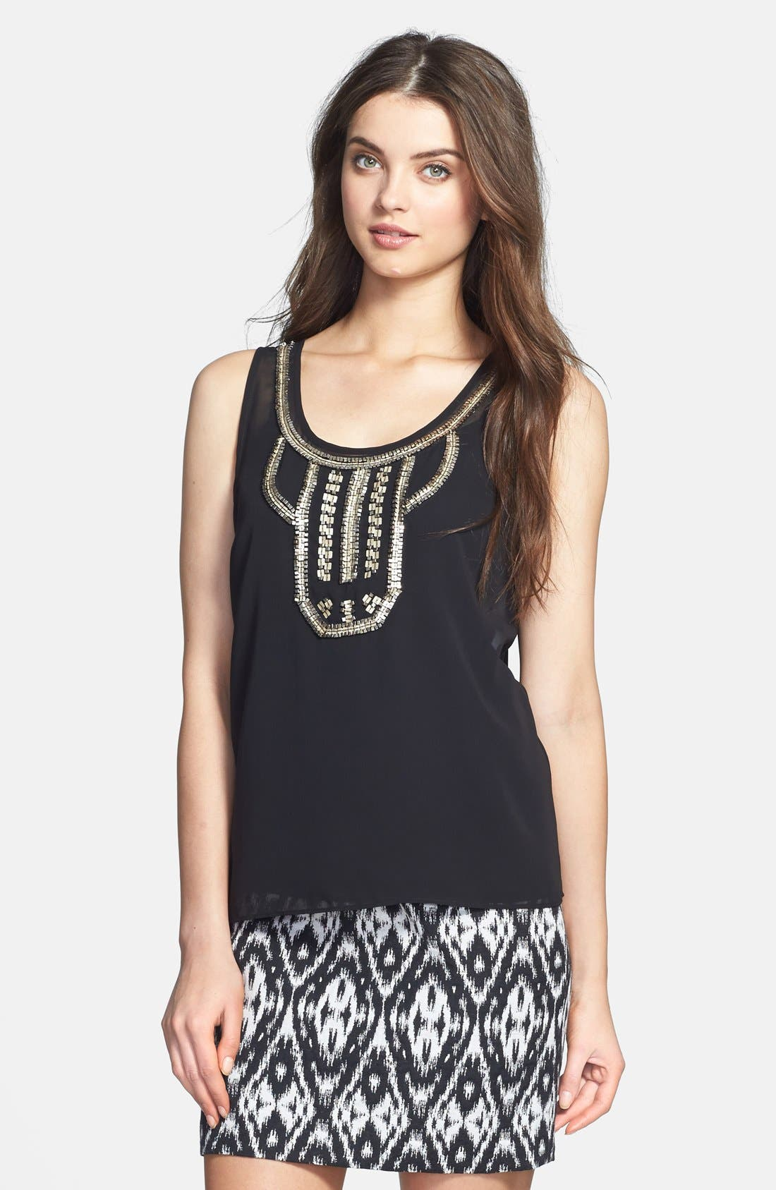 Alternate Image 1 Selected - Vince Camuto Embellished Sleeveless Blouse (Petite)