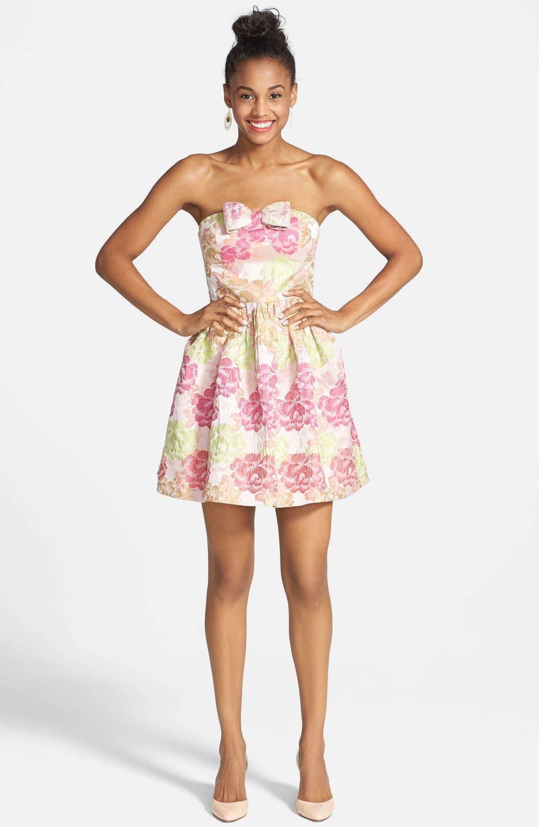 Alternate Image 1 Selected - a. drea 'Ariana' Textured Floral Strapless Dress (Juniors)