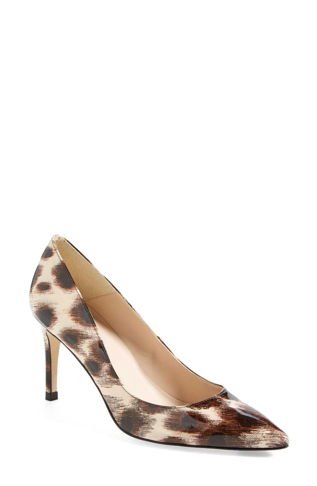 Alternate Image 1 Selected - L.K. Bennett 'Floret' Leopard Print Patent Pointy Toe Pump (Women)