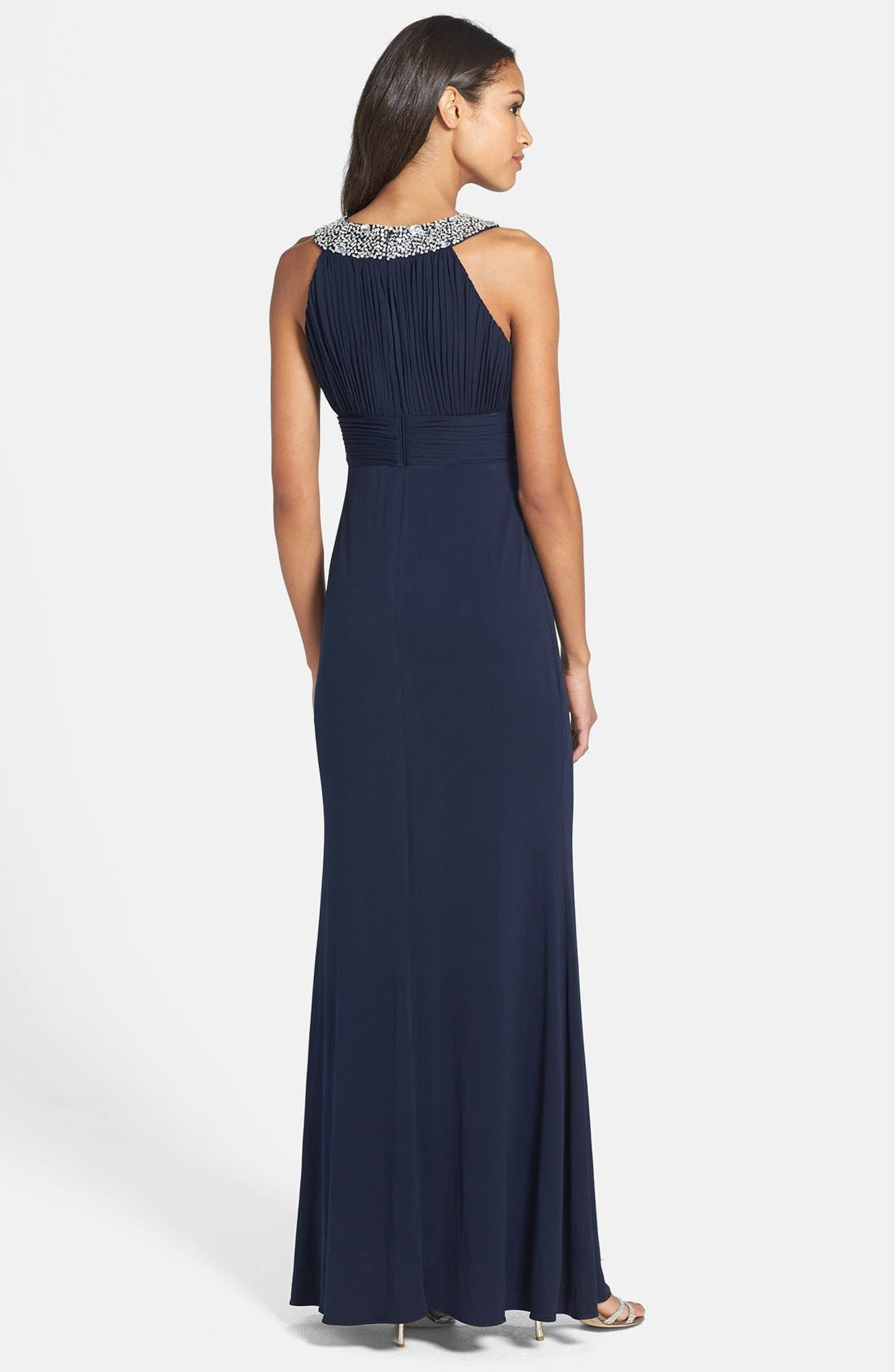 Alternate Image 2  - JS Boutique Beaded Neck Jersey Gown