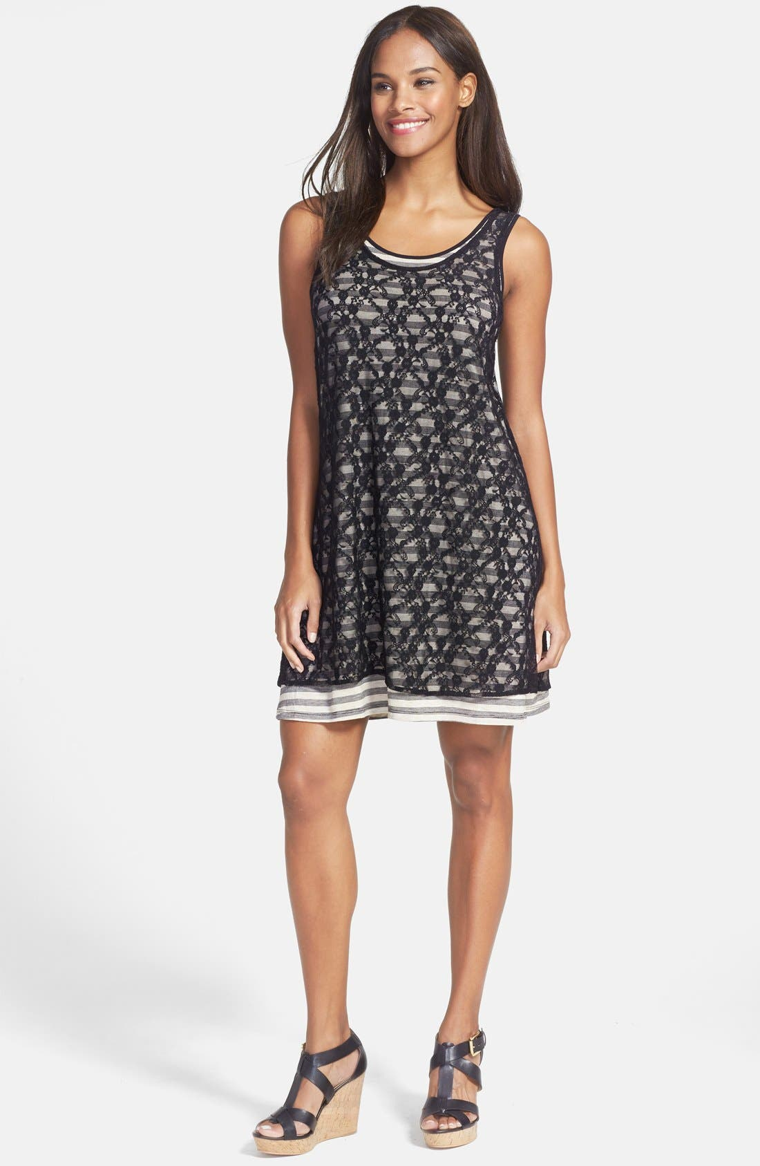Alternate Image 1 Selected - kensie Lace Overlay Stripe Jersey Dress