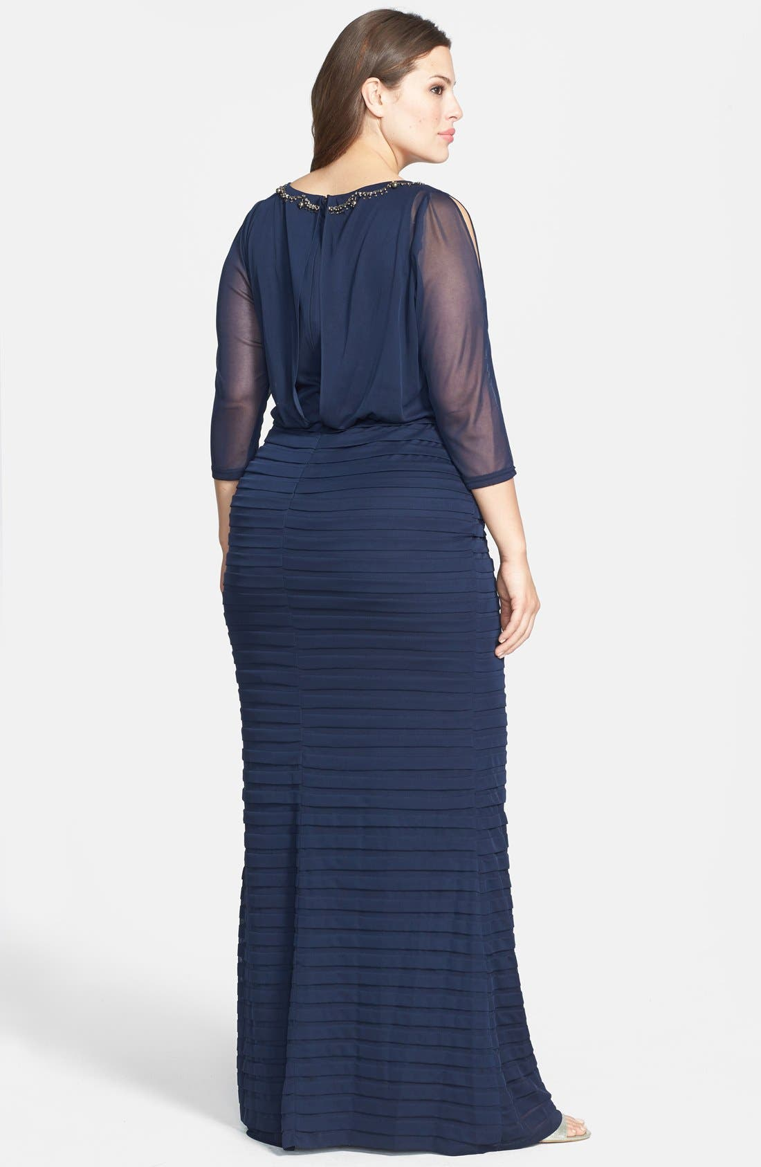 Alternate Image 2  - Adrianna Papell Embellished Sheer Sleeve Shutter Pleat Gown (Plus Size)