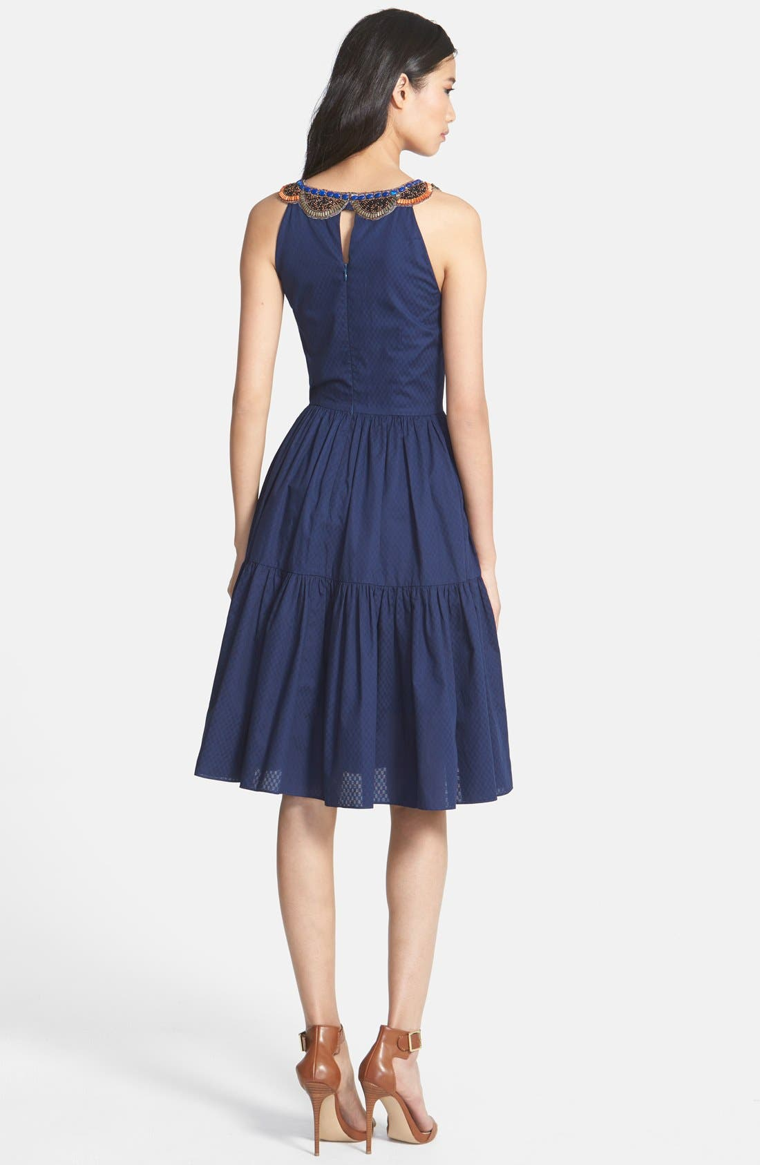 Alternate Image 2  - Cynthia Steffe 'Jett' Embellished Tiered Jacquard Midi Dress