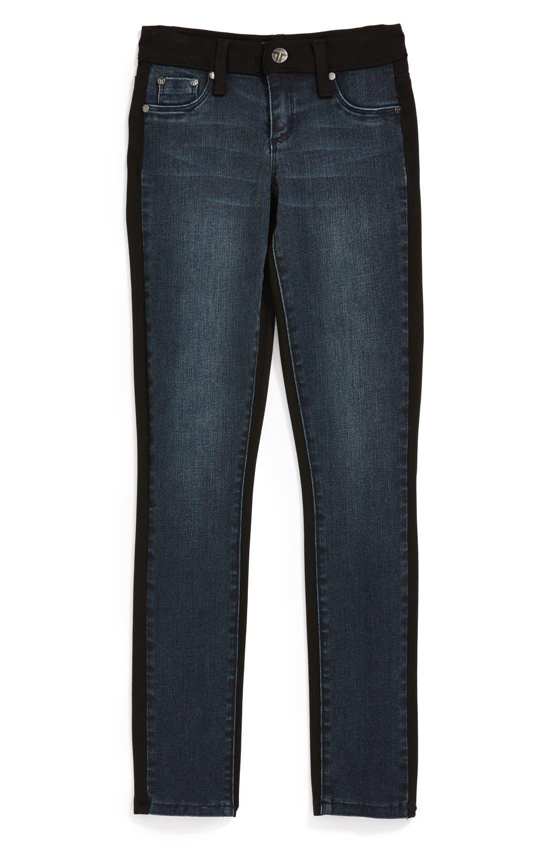 Main Image - Tractr Denim Front Knit Back Pants (Big Girls)