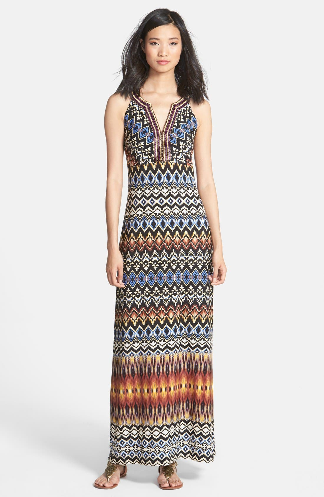 Alternate Image 1 Selected - Donna Morgan Embellished Print Jersey Maxi Dress