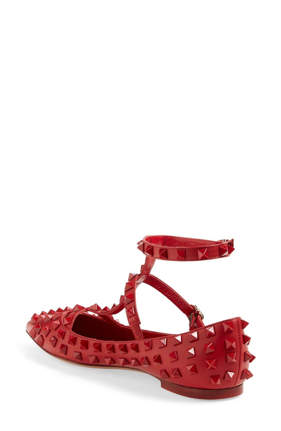 Alternate Image 2  - VALENTINO GARAVANI 'Rockstud' T-Strap Pointy Toe Flat (Women)