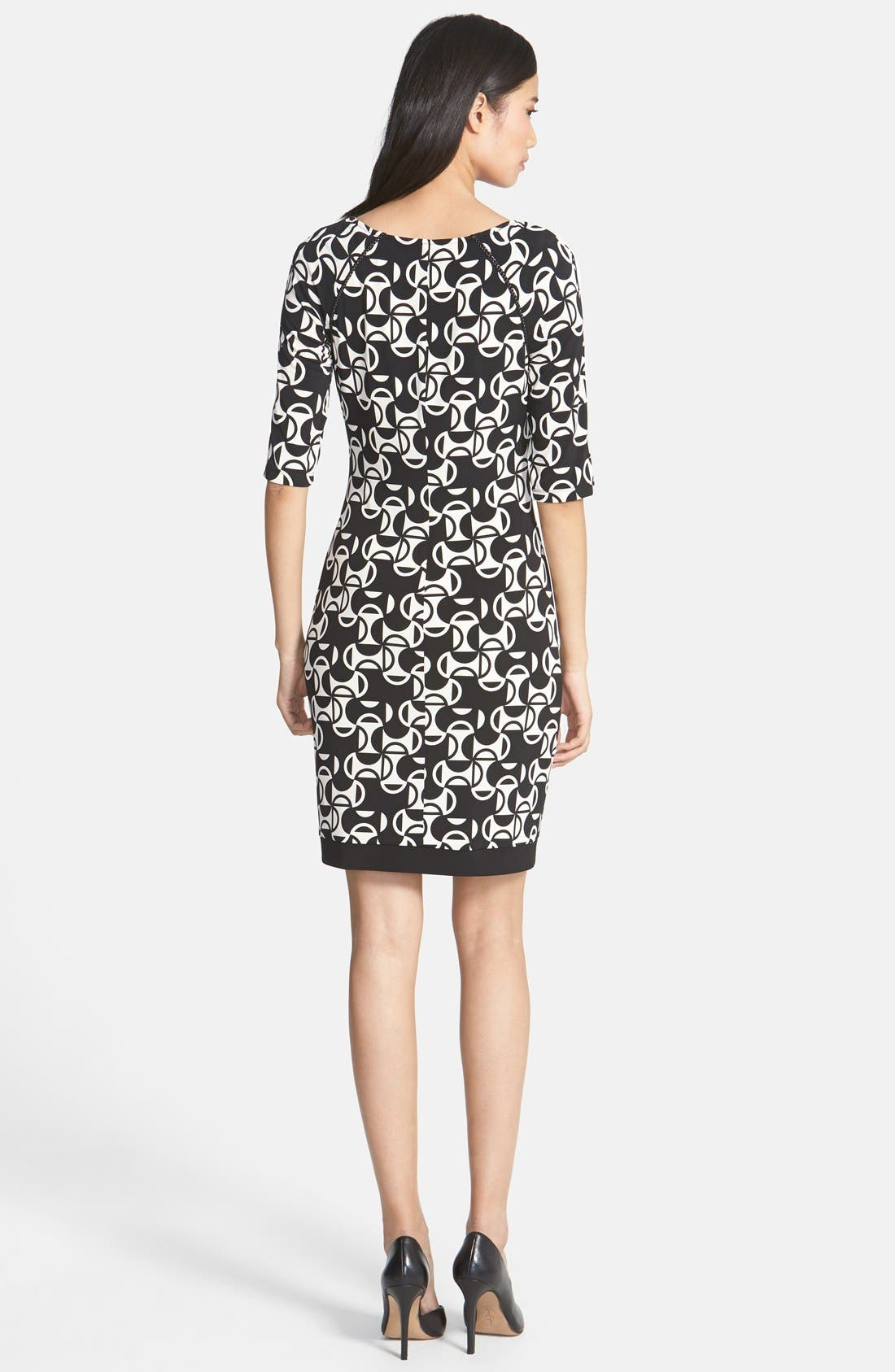 Alternate Image 2  - Donna Morgan Print Matte Jersey Sheath Dress (Petite)