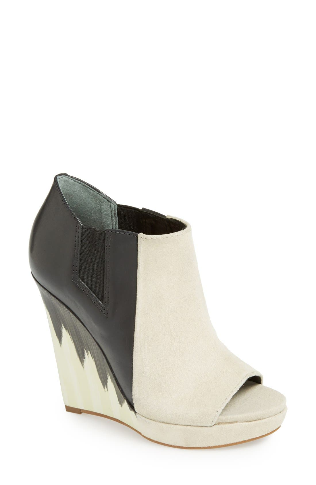 Alternate Image 1 Selected - Derek Lam 10 Crosby 'Gerri' Leather & Suede Open Toe Wedge Bootie