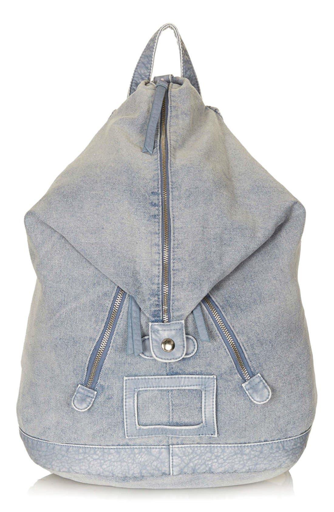 Main Image - Topshop Zip Front Denim Backpack