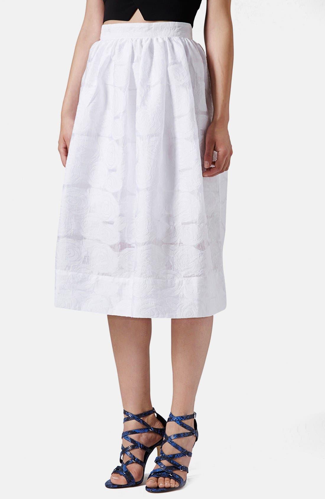 Main Image - Topshop Rose Jacquard Midi Skirt