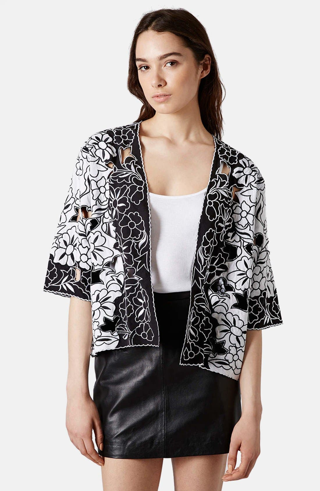 Alternate Image 1 Selected - Topshop Cutout Embroidered Kimono Jacket