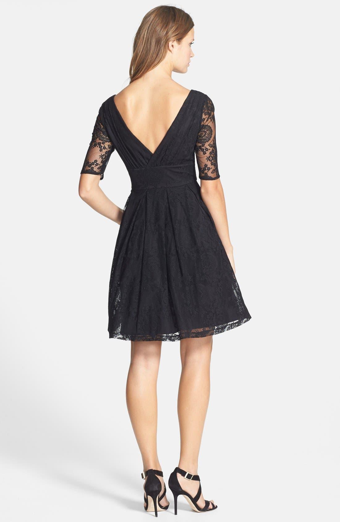 Alternate Image 2  - Betsey Johnson V-Neck Lace Fit & Flare Dress