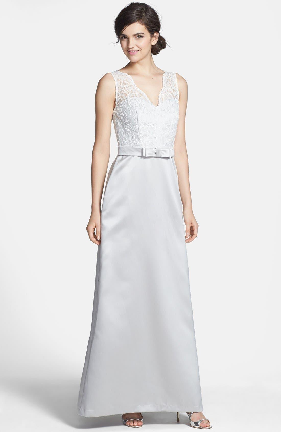 Main Image - After Six Sleeveless Lace & Matte Satin Dress