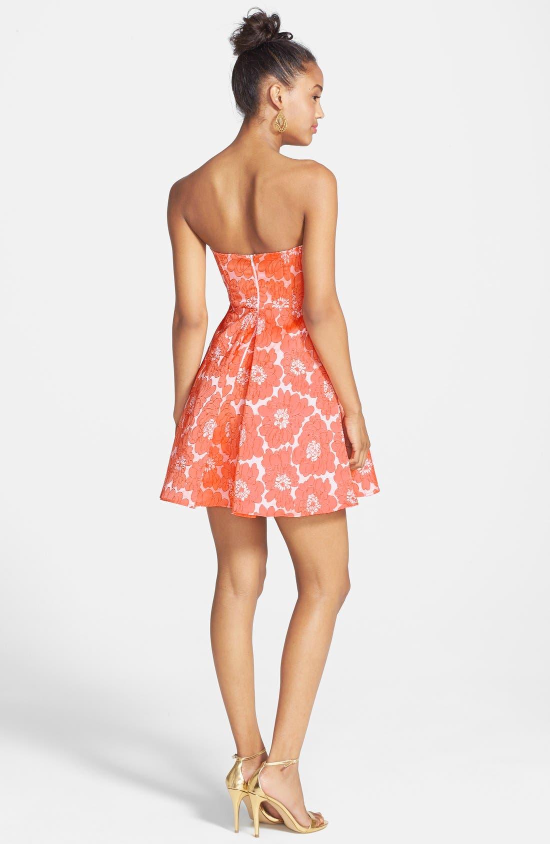 Alternate Image 2  - a. drea Textured Floral Print Fit & Flare Dress (Juniors)