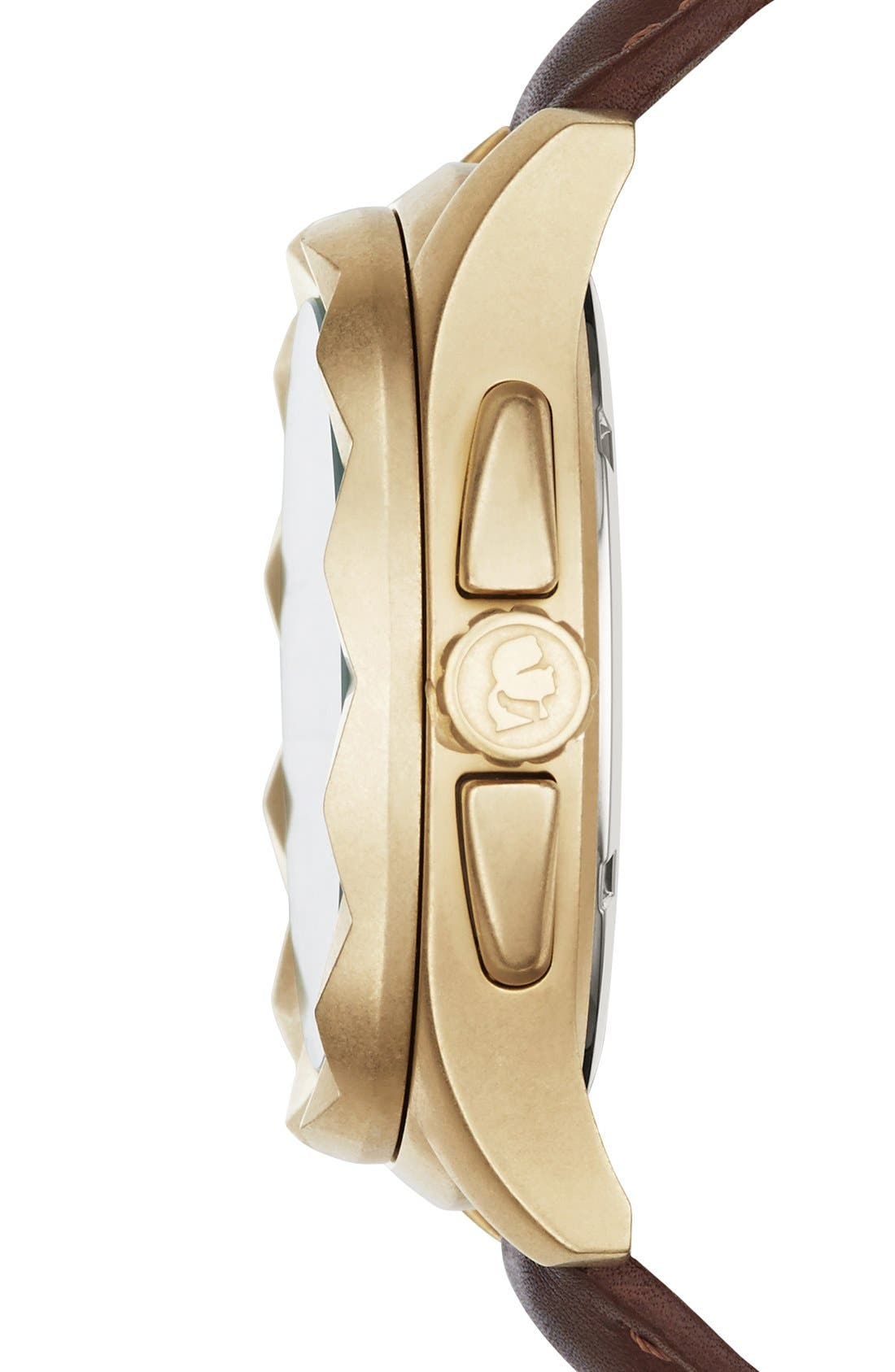 Alternate Image 3  - KARL LAGERFELD '7' Faceted Bezel Leather Strap Watch, 44mm