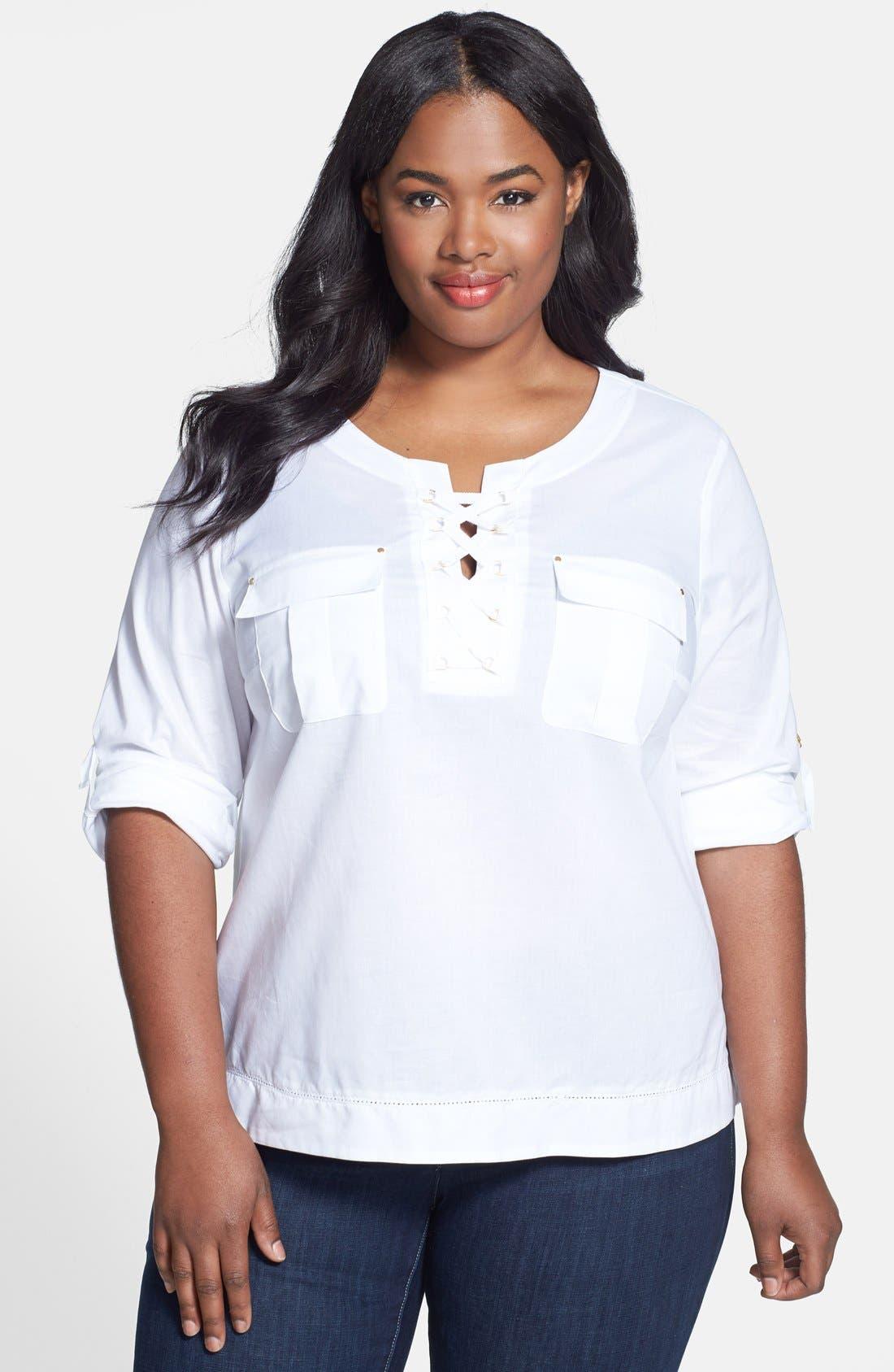 Main Image - Anne Klein Lace-Up Cotton Top (Plus Size)