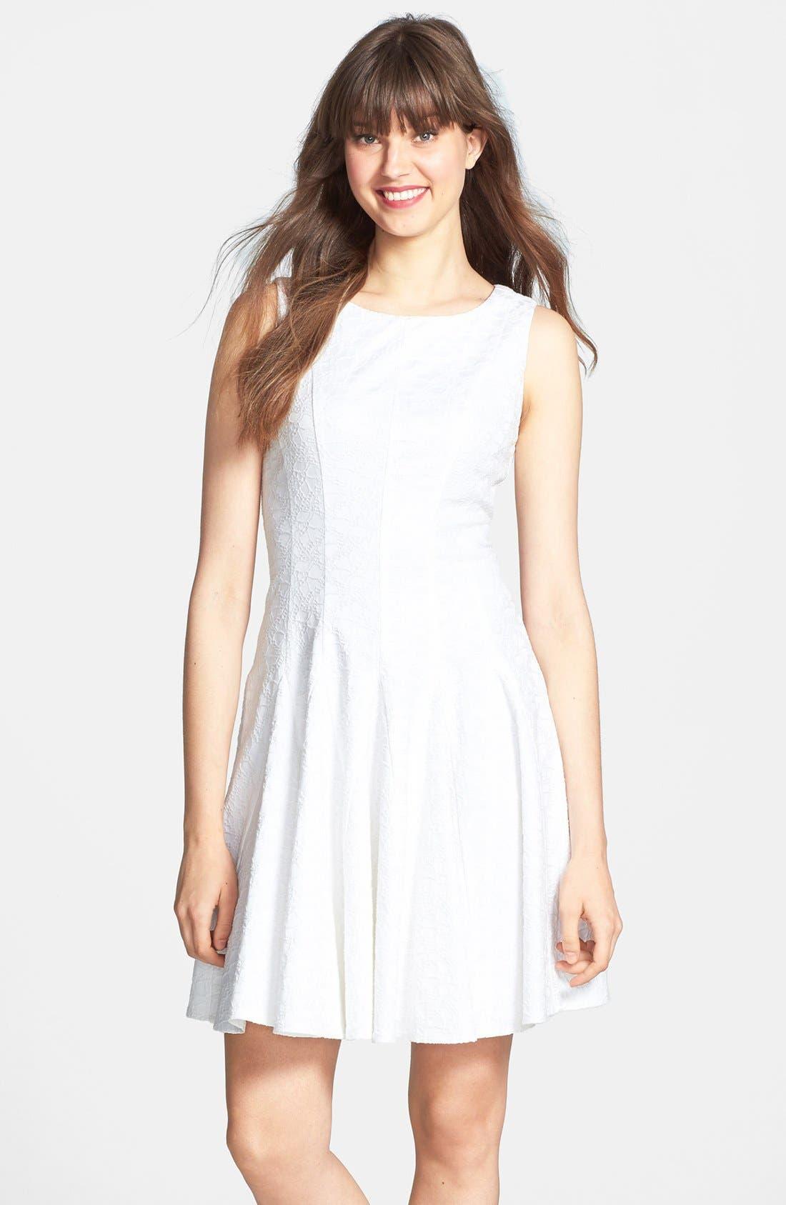 Alternate Image 1 Selected - Eliza J Jacquard Cotton Blend Fit & Flare Dress