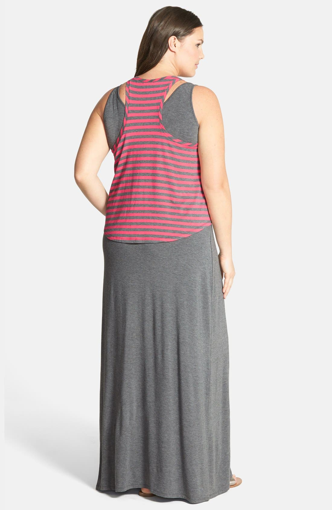 Alternate Image 2  - Halogen® Layered Stretch Knit Maxi Dress (Plus Size)