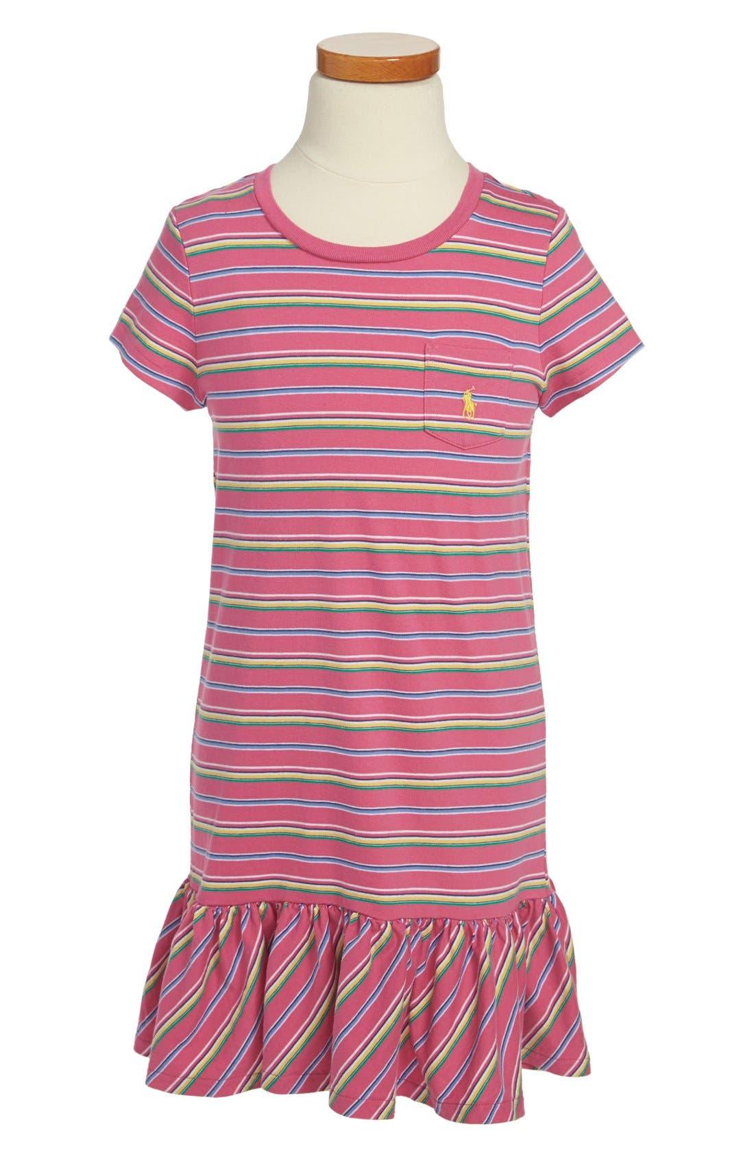 Alternate Image 1 Selected - Ralph Lauren Stripe T-Shirt Dress (Little Girls)
