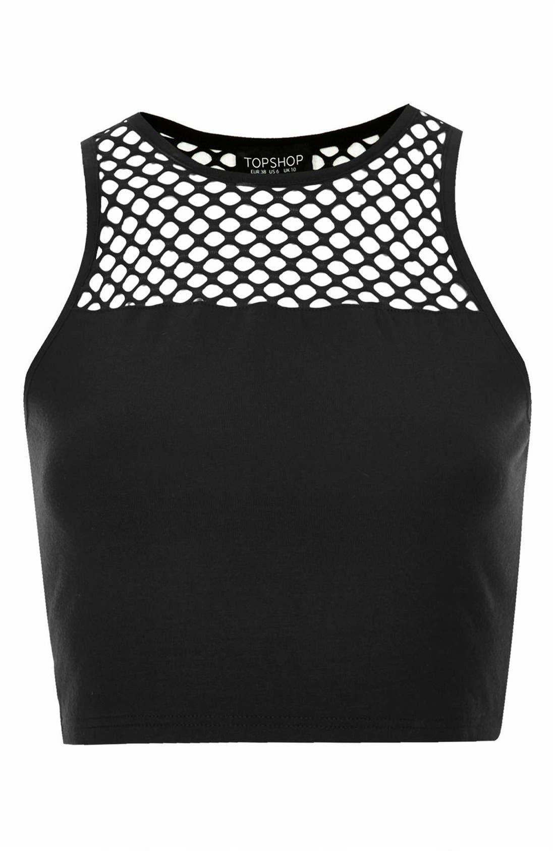Alternate Image 3  - Topshop Mesh Yoke Crop Tank