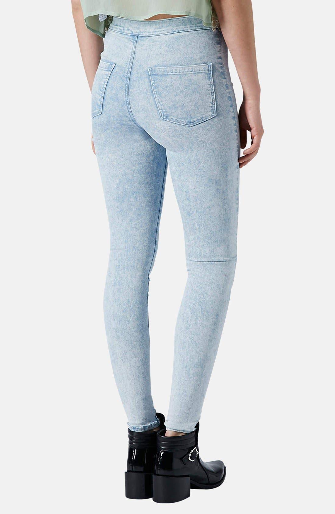 Alternate Image 2  - Topshop Moto 'Joni' Acid Wash High Rise Skinny Jeans (Light) (Regular & Short)